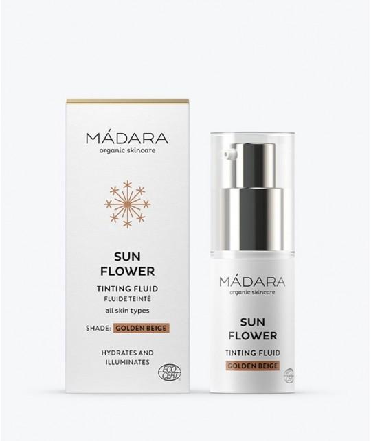 MADARA BB Crème Teintée Fluide Sun Flower Beige doré  tinting fluid mini 15ml flacon pompe cosmétique bio