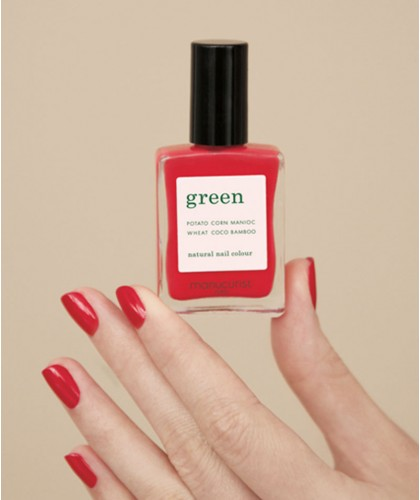 MANUCURIST Vernis GREEN Anemone rouge swatch vegan naturel