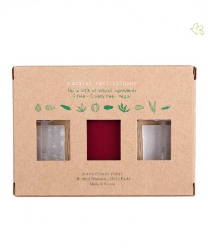 Manucurist Nail Polish GREEN Dark Pansy Box Green Three Steps natural deep red