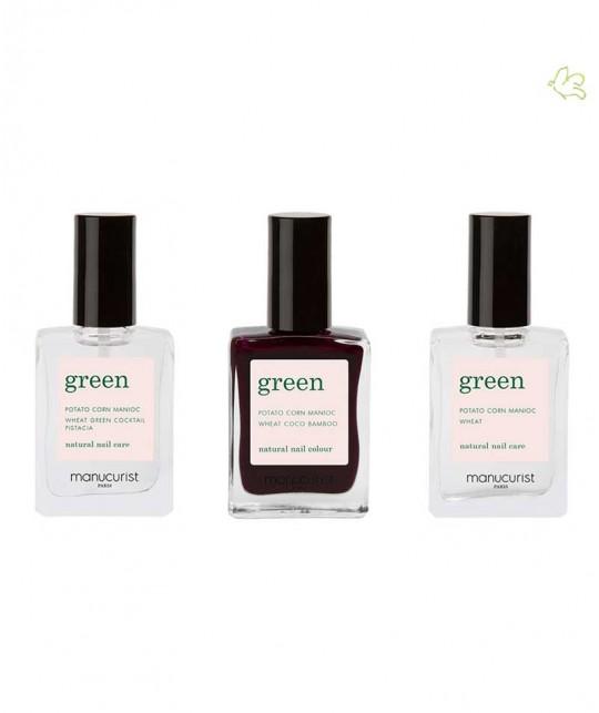 Manucurist Nagellack GREEN Hollyhock Schwarzrot Naturkosmetik Box Green Three Steps