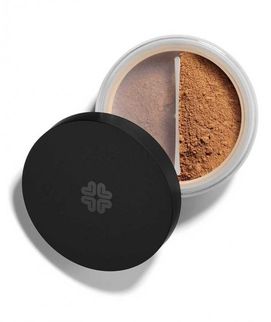 LILY LOLO Mineral-Puder Foundation SPF15 Hot Chocolate swatch Naturkosmetik l'Officina