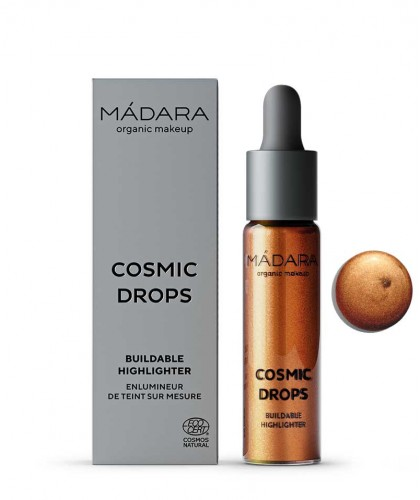 Madara organic makeup Buildable Highlighter Cosmic Drops liquid natural beauty certified vegan Bronze Burning Meteorite 3