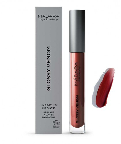 Madara Gloss Lèvres Naturel hydratant Glossy Venom maquillage bio Vegan red rouge brun