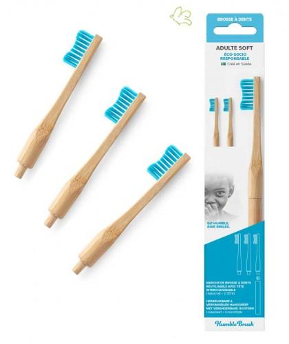 Brosse à Dents en Bambou Humble Brush Tête interchangeable zero déchet compostable biodegradable écologique bleu