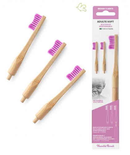 Humble Brush Bamboo Toothbrush with replaceable heads removable Vegan sustainable zero waste