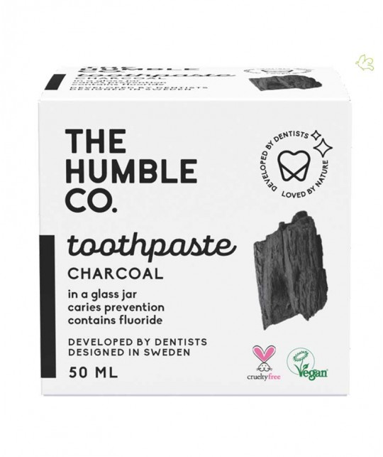 Humble Natural Toothpaste glass jar Charcoal with fluoride vegan