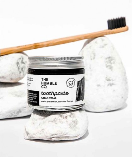 Humble Natural Toothpaste glass jar Charcoal with fluoride certified vegan cruelty free