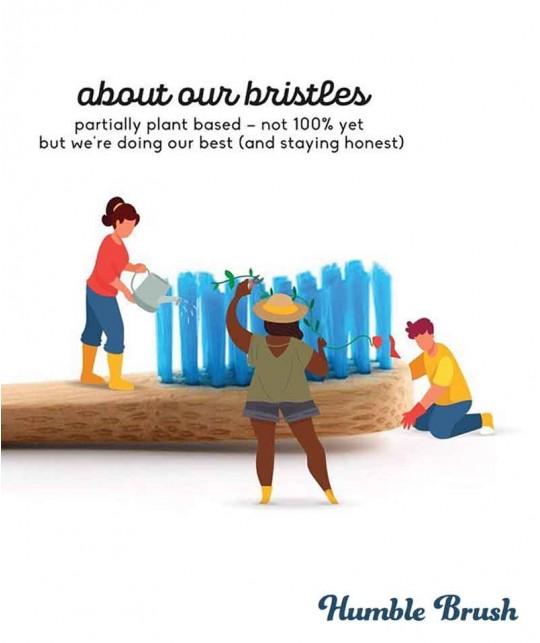 Brosse à Dents en Bambou Humble Brush  - bleu poils souples Vegan Cruelty free