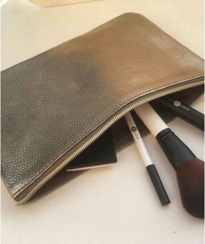 JJDK Trousse Beauté or toilette maquillage grande pochette métallique similicuir