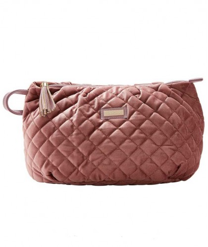 Toiletry Bag Dusty Pink Quilted Velvet - Large JJDK Lady Jane travel beauty