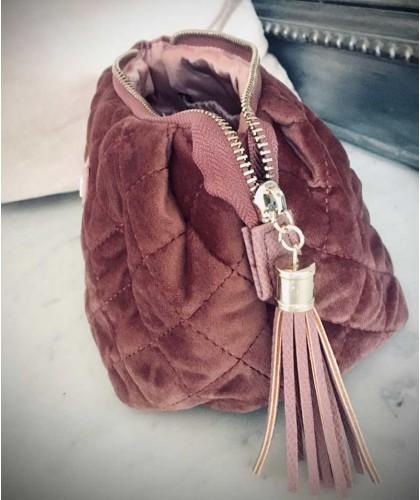 Trousse de toilette Voyage velours matelassé Vieux Rose moyen format Lady Jane JJDK haut de gamme