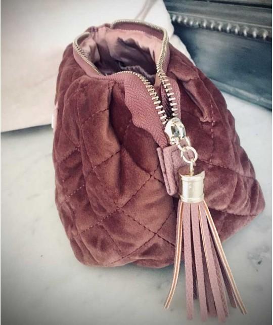 Toiletry Bag Dusty Pink Quilted Velvet - medium JJDK Lady Jane travel beauty