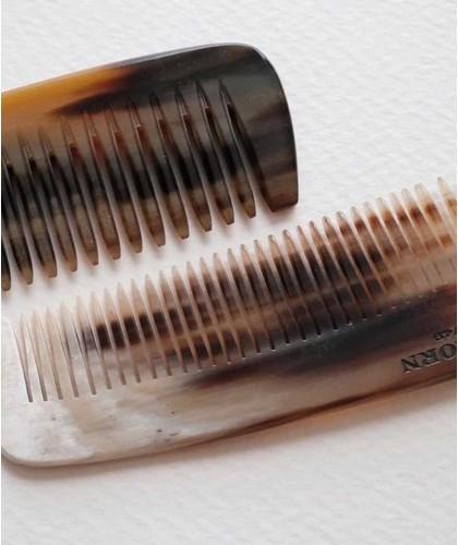 Peigne en corne naturelle Abbeyhorn - double denture (15 cm) petit cheveux barbe homme femme