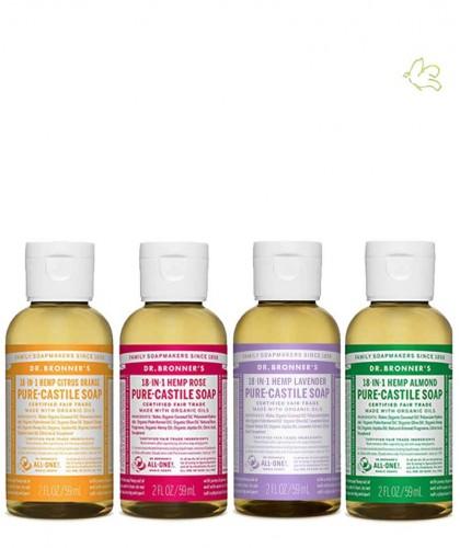 Dr. Bronner's Pack 4 Savon liquides bio Pur Végétal 18-en-1 lavande rose amande agrumes orange