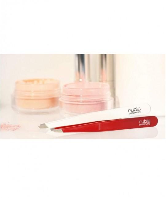 RUBIS Switzerland Tweezers Classic Slanted tips - professional eyebrows cosmetics beauty