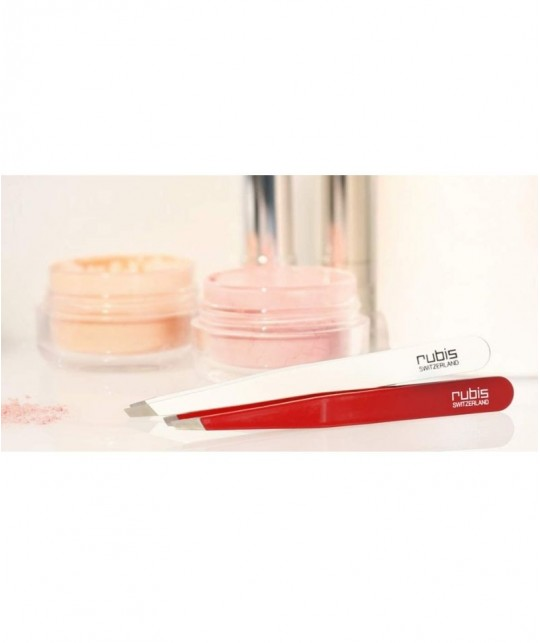 RUBIS Switzerland Tweezers Classic - professional slanted tips pink gem eyebrows beauty