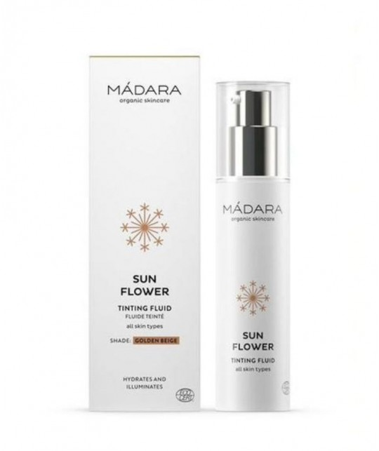 MADARA BB Cream bio Crème Teintée naturelle Fluide Sun Flower Beige doré flacon pompe 50ml