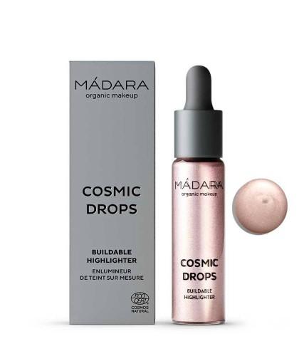 Madara Enlumineur de Teint liquide bio Blush Cosmic Drops Highlighter Rose maquillage bio beauté clean green