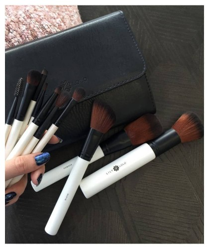 Lily Lolo 10 Piece Luxury Brush Set professional makeup pouch