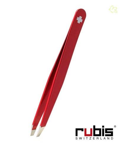 RUBIS Switzerland Pinzette Classic schräg - Swiss Cross Rot Beauty Augenbrauen handmade Kosmetik