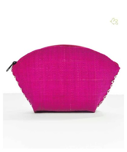 l'Officina Paris Straw Pouch fuchsia pink natural cosmetics beauty