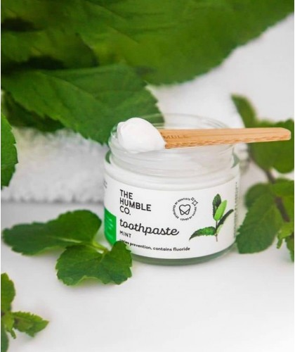 Humble Natural Toothpaste glass jar Fresh Mint with fluoride