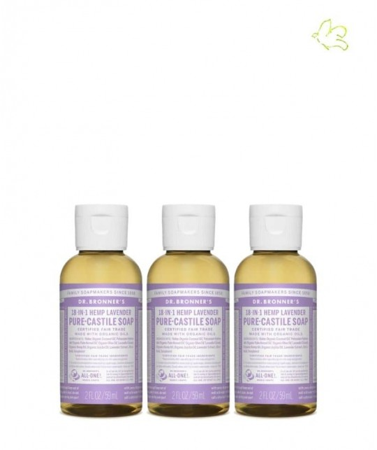 Dr. Bronner's Set 3 organic Liquid Soaps Lavender travel size