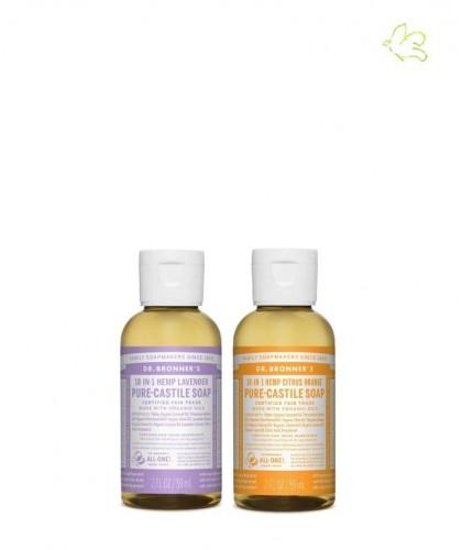 Dr. Bronner's Set Angebot 2 Flüssigseifen Lavendel & Zitrus Orange mini Reisegrösse