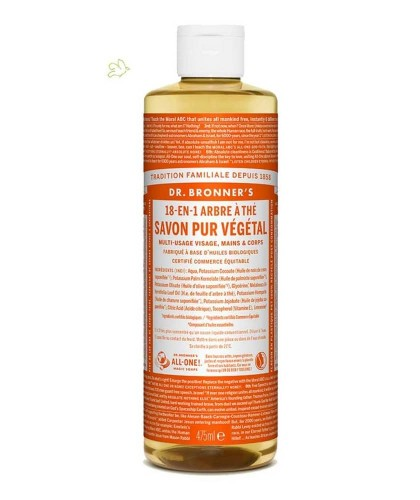 Dr. Bronner's Savon Liquide bio Pur végétal Tea Tree Arbre à Thé vegan acné anti bactérien