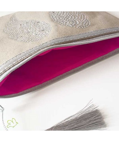Makeup Pouch Angel Wings pastel beige cosmetics silver cotton