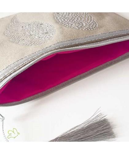 Trousse de Maquillage Ailes d'Ange beige dragée strass argent cadeau beauté coton