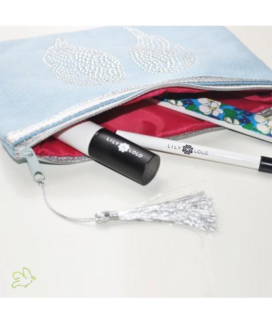 Schminktäschchen Engelsflügel hellblau Silber Kosmetiktasche