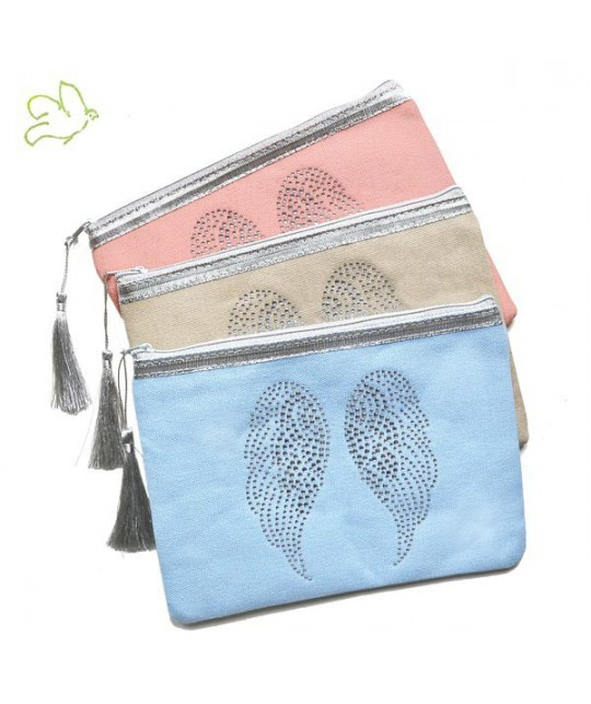 Makeup Pouch Angel Wings peachy pink cosmetics silver cotton