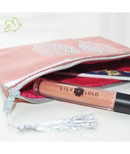 Trousse de Maquillage Ailes d'Ange pêche rose strass argent cadeau beauté