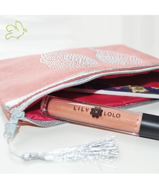 Schminktäschchen Engelsflügel pfirsichrosa  Silber Kosmetiktasche Baumwolle