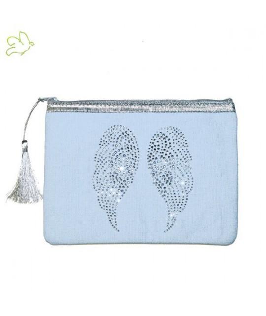 Trousse de Maquillage Ailes d'Ange bleu dragée strass argent cadeau beauté