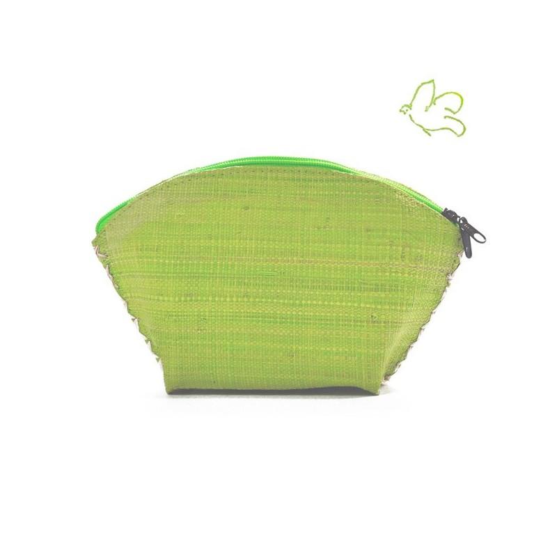 L'Officina Enjoy - Trousse Beauté en paille tressée (vert anis)