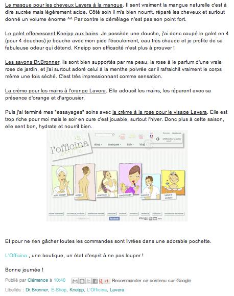 Le blog «Apple Makeup» aime L'Officina…