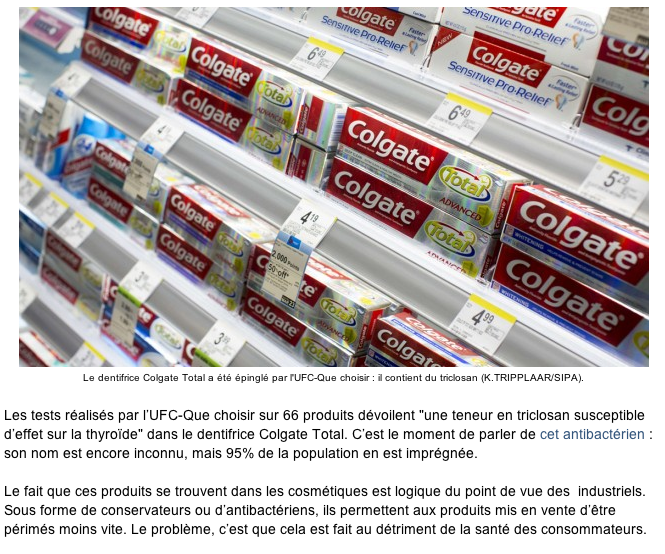 Le Nouvel Observateur: «Les dentifrices et gels douche sont des produits chimiques : comment écarter le danger»