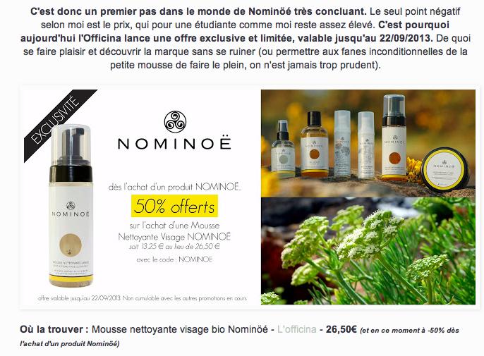 Revue de la Mousse Nettoyante Visage NOMINOË par le blog Maugenated