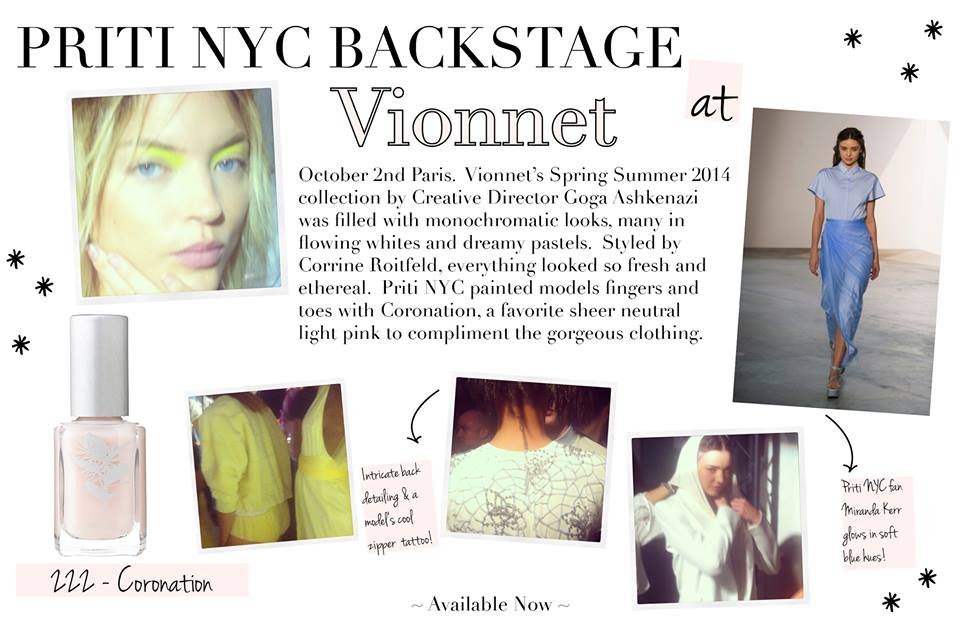 Priti NYC backstage – collection printemps / été 2014 Vionnet Paris