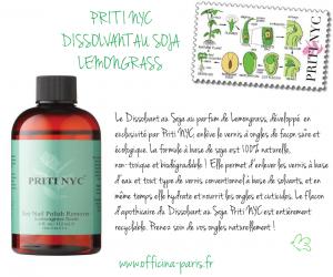 Prenez soin de vos ongles naturellement ! PRITI NYC Dissolvant organique au Soja – parfumé Lemongrass
