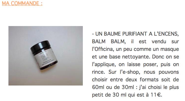 le Cosmetorium teste l'Officina: le Baume Purifiant Intense à l'Encens Balm Balm