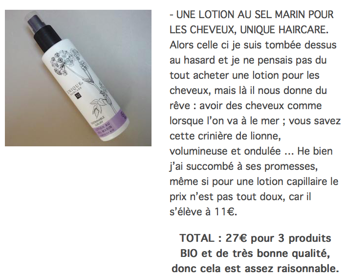 le Cosmetorium teste l'Officina: la Lotion Capillaire au Sel Marin (spray) Unique Haircare