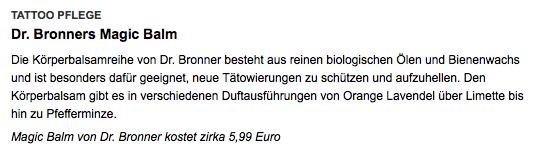 Dr. Bronner's Magic Balm recommandé par womenhealths.de