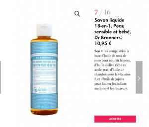 Le Savon Liquide bio non-parfumé Dr. Bronners sélectionné par ELLE