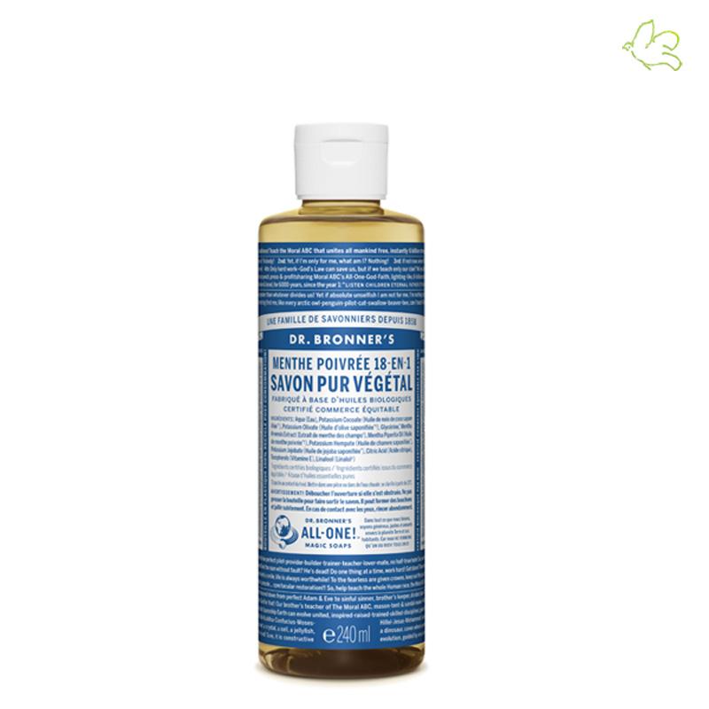 Dr. Bronner's Magic Soaps - Savon Liquide Pur Végétal Menthe Poivrée (medium 240ml)