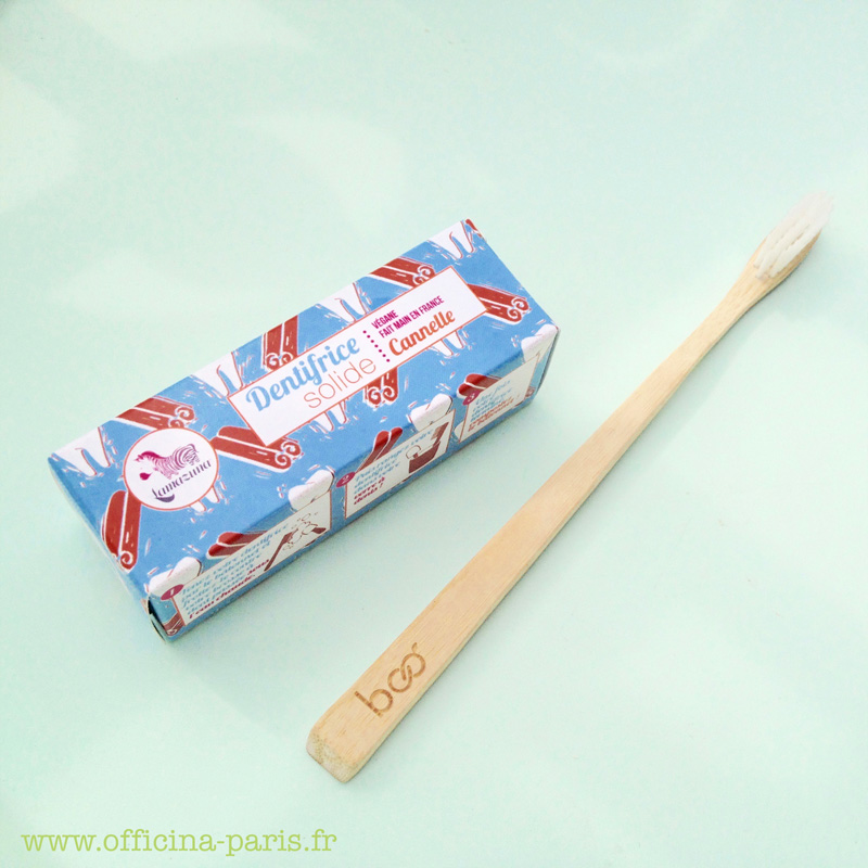 Dentifrice solide Cannelle LAMAZUNA et Brosse à Dents en Bambou MY BOO COMPANY