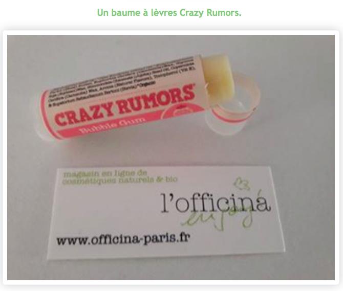 Baume à Lèvres Naturel Bubble Gum CRAZY RUMORS