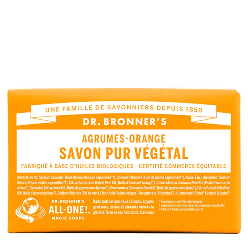 DR. BRONNER'S Pain de Savon bio Pur Végétal Agrumes Orange